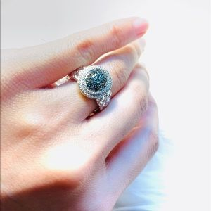 SIZE 6 Blue Diamond Accent Texture Ring - 0.25 ctw